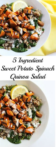 This 5 Ingredient Sweet Potato Spinach Quinoa Salad Is Super Simple To Make, Healthy And Only Requires 5 Simple Ingredients Vegan And Gluten Free. Spinach Recipes, Salad Recipes, Vegetarian Recipes, Healthy Recipes, Savoury Recipes, Avocado Recipes, Sweet Potato Spinach, Salad With Sweet Potato, Quinoa Salat
