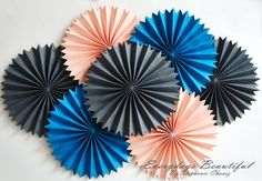 6Large Party Rosettes/Pin wheels/Party fan by EverydaysBeautiful, $24.00
