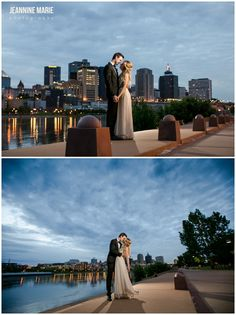 Bride and groom night portraits at Harriet Island Pavilion photographed by Saint Paul wedding photographer Jeannine Marie Photography. #wedding #Bride #groom #weddingphotos #weddingportraits #saintpaul #minnesota #jeanninemariephotography #minnesotaweddingphotographer #saintpaulweddingphotographer