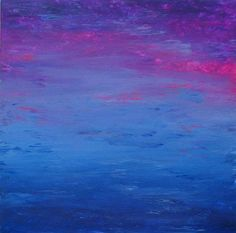 "Saugatuck Summer No. 3  Dimensions:  24.00"" x 24.00"" x .75""  Description:  Original, abstract painting by finger painting artist Naomi Silver. Tempera and acrylic on stretched canvas (no frame required). Lightly textured. Sides of canvas painted. Dominant colors are fuscia, purple and blue. Signed on bottom edge.  $300"
