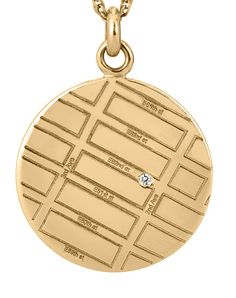 Map Necklace Style MAPP005 Yellow Gold Round Map Pendant