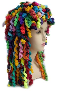 Too Many Hats. Darn, no pattern but I think you could just add the corkscrew curls to just about any single crochet hat pattern.Darn, no pattern but I think you could just add the corkscrew curls to just about any single crochet hat pattern. Learn To Crochet, Crochet For Kids, Crochet Baby, Knit Crochet, Crochet Wigs, Funny Crochet, Spiral Crochet, Crochet Children, Rainbow Crochet