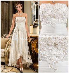 Sheath/Column Strapless Scalloped-Edge Asymmetrical Tulle Wedding Dress - USD $ 97.49