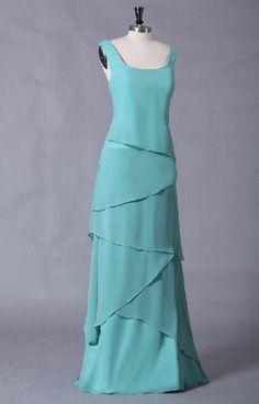 Beautiful Aqua A-line Chiffon Square Beach Mother Of The Bride Dress