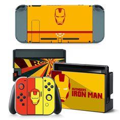 Nintendo Switch Console Joy-Con Skin Decal Sticker Iron Man Custom Design Set #ZoomHit