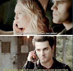"Lol ""The Vampire Diaries"" - Caroline (Candice Accola), Stefan (Paul Wesley) and Enzo (Michael Malarkey) Vampire Diaries Quotes, Vampire Diaries Cast, Vampire Diaries The Originals, Bonnie Bennett, Paul Wesley, Damon Salvatore, Phoebe Tonkin, Michael Malarkey, Hello Brother"