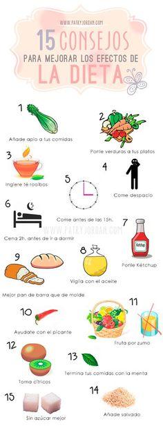 15 consejos para mejorar los efectos de tu dieta. #dieta #tips #infografia