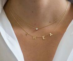 Ankle Jewelry, Dainty Jewelry, Boho Jewelry, Bridal Jewelry, Jewelry Necklaces, 14k Gold Initial Necklace, Letter Necklace, Simple Necklace, Silver Diamonds