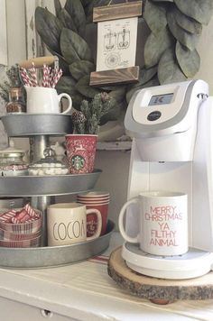 coffee station merry christmas ya filthy animal coffee mug in this cute farmhouse kitchen Coffee Nook, Coffee Bar Home, Home Coffee Stations, Coffee Corner, Coffee Life, Coffee Lovers, Coffe Bar In Kitchen, Morning Coffee, Coffee Bar Ideas