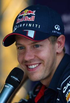 Sebastian Vettel of Germany & Infiniti Red Bull Racing is interviewed during previews to the Italian 2013 Formula One Grand Prix at Autodromo di Monza