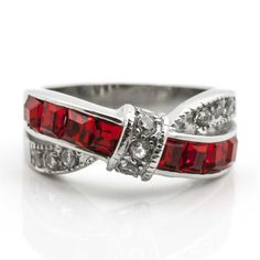 Thin Red Line Stainless Steel Princess Cut CZ Wedding Ring Two