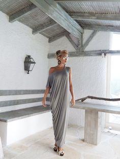 Maxi Kleid   graue Kaftan grau   Assymetrischer Plus Size Tragen, Anziehen,  Bequeme Kleidung 9538fbc5f9