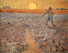 Sower after Millet by Vincent van Gogh is a museum quality oil painting reproduction, hand-painted on canvas. All our oil paintings are free worldwide shipping, Money-back Guarantee. Vincent Van Gogh, Art Van, Van Gogh Pinturas, Doodle, Van Gogh Paintings, Kunst Poster, Museum, Art Archive, Oil Painting Reproductions