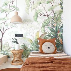 Outstanding Kids Jungle Room Design Ideas To Creative Explorer Kids Room Murals, Wall Murals, Forest Room, Safari Theme Nursery, Tropical Wallpaper, Green Wallpaper, Kids Room Wallpaper, Wallpaper Jungle, Jungle Room