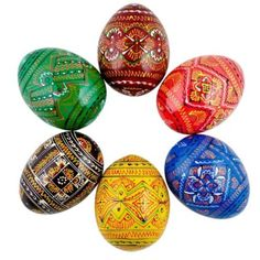 Would be perfect in a bowl or vase as decoration. Ukrainian Geometric Wooden Easter Eggs: Home & Kitchen