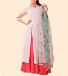 #Beige & #Pink Printed & Embroidered #Kurta & #Sharara #Set by #Anju #Modi at #Indianroots