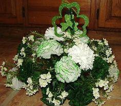 st. patricks day floral arrangements | ... White Spray Centerpiece St Patricks Day Silk Flower Arrangement | eBay