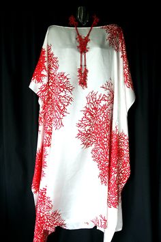 100% Silk Red Coral Boatneck Kaftan front view