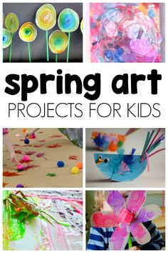 This is a HUGE list of spring art projects for kids to make! Its full of ideas for rainbows insects Easter flowers and more spring art to inspire children. Spring Art Projects, Toddler Art Projects, Spring Crafts, Projects For Kids, Crafts For Kids, Arts And Crafts, Family Art Projects, Craft Kids, Craft Art