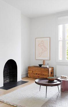 simple art in minimalist living room. / sfgirlbybay