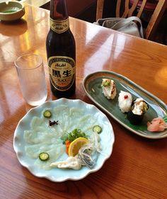 Fugu Sushi and Sashimi at Zuboraya in Osaka, Japan