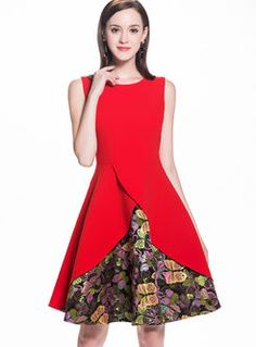 Fashionable Sleeveless Butterfly Embroidery Skater Dress