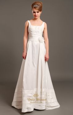 lindadress.com Offers High Quality Ivory Taffeta Square Neck Sleeveless A Line Wedding Dress With Flowers,Priced At Only USD USD $185.00 (Free Shipping)