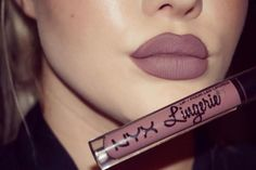 Favourite shade of @nyxcosmetics lip lingerie liquid lipstick in the shade…