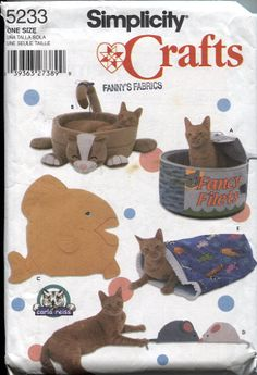 Simplicity 5233, Cat Beds Sewing Pattern, Tuna Can Cat Bed , Kitty Cat Bed, Fish…