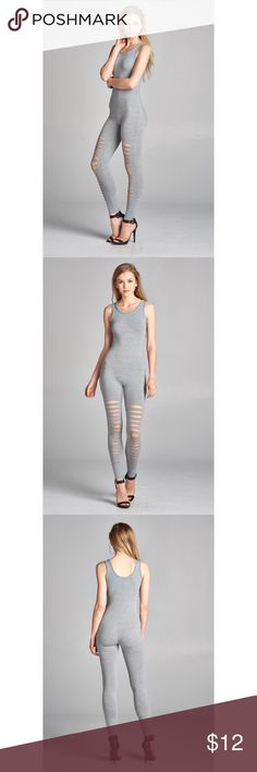 Ladder cut-out bodycon jumpsuit Sleeveless ladder cut-out bodycon jumpsuit 92% cotton 8% spandex style:p2954 pastel blue 2016 Pants Jumpsuits & Rompers