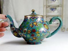 Antique Chinese Brass and Cloisonne Enameled Tea Pot, Chintz Teapot 10204