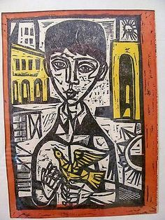 'boy with a bird' woodcut by irving amen