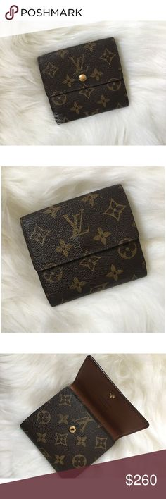 Louis Vuitton Wallet (AUTH) This Louis Vuitton wallet is in the short, Portefuille Elise style with the classic Monogram! It has two snap closures, and then opens up sideways. For being an older LV, it is in awesome condition! Plenty of card slots and room for cash. It is 100% authentic. Monogram is positioned and flipped exactly how it should be, where fakes it's too aligned. LV uses one piece of leather for each of their goods. Date code is in card slot. Perfect for men and women! *NO…