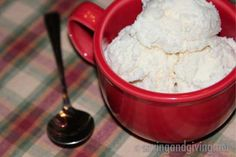 Homemade vanilla ice cream with agave nectar instead of sugar.