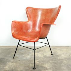 Vintage Mid Century Modern Salmon Red Wingback Chair