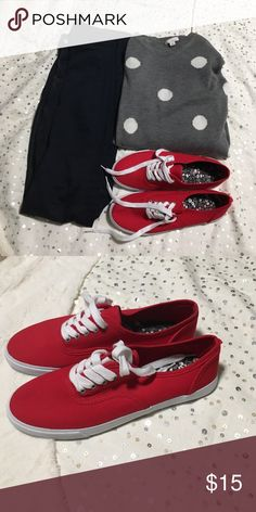 Red and white sneakers Red and white sneakers with black and white flowers design inside Shoes Sneakers