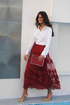 Fall Fashion Outfits, Fashion Night, Red Fashion, Skirt Fashion, Elegant Outfit, Classy Dress, Classy Outfits, Red Frock, Nice Dresses