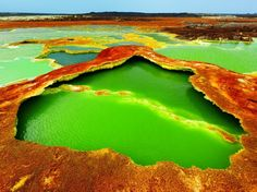 Dallol - Hottest Place on Earth! Top 10 Unusual Landscapes http://www.toptenz.net/top-10-unusual-landscapes.php  Dallol, Ethiopia