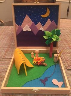 worlds in boxes - into the wilderness campsite playset