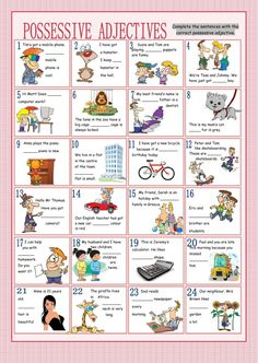 Possessive adjectives interactive and downloadable worksheet. Check your answers online or send them to your teacher.