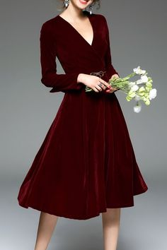 Shop blueoxy wine red long sleeve velvet midi dress here, find your midi dresses at dezzal, huge selection and best quality. Long Midi Dress, Velvet Midi Dress, Dress Skirt, Dress Up, Burgundy Midi Dress, Velvet Dresses, Swing Dress, Fashion Mode, Modest Fashion