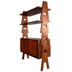 Rare bookcase by Angelo Mangiarotti and Bruno Morassutti