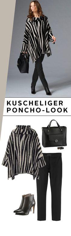 Herbstlich eingekleidet – von A bis Zebra! Richtig gehört: Denn im Mittelpunkt des außergewöhnlichen Herbstoutfits von Stardesigner Guido Maria Kretschmer steht ganz klar der Poncho im Zebra-Allovermuster. Zusammen mit der shapenden Röhrenhose und den Stiefelletten ein echter Hingucker-Look!
