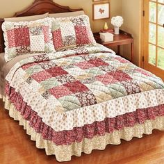 Worthington Patchwork Ruffled Bedspread from Collections Etc.Worthington Patchwork Quilted Ruffle Skirt Lightweight Bedspread for sale onlineLovely patchwork style quilted bedspread instantly gives your bedroom décor a splash of colorful charm. Bedspreads Comforters, Quilted Bedspreads, Country Quilts, Amish Quilts, Easy Quilt Patterns, Pattern Blocks, Ruffle Bedspread, Ruffle Skirt, Ruffles