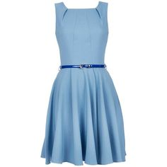Closet Blue Pleated Belted Dress (4,610 PHP) ❤ liked on Polyvore featuring dresses, dress with belt, belt dress, pleated dress, blue dress and blue day dress