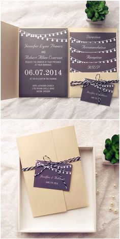 Top 10 Pocket Wedding Invitation Kits for Spring 2015 - gold and black rustic pocket wedding invitations for backyard wedding ideas 2015 - Backyard Wedding Invitations, Pocket Wedding Invitations, Rustic Invitations, Wedding Invitation Wording, Wedding Stationary, Invitation Ideas, Wedding Backyard, Event Invitations, Invitation Suite