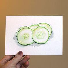 Cucumber Watercolor Print
