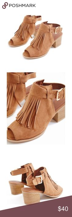 "NEW Camel Boho Faux Suede Fringe Mid Chunky Heels These gorgeous heels feature a faux suede upper with a fringe detail, a backless design,, and a peep toe. 3"" heel; buckle closure. Avalablble now! Will ship on tomorrow! Shoes Heels"