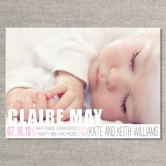 Birth Announcements The Clare von UhOhPasghettio auf Etsy