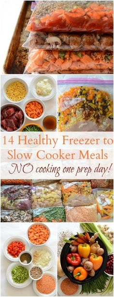 Healthy Meals 14 Healthy Freezer to Slow Cooker Recipes (NO cooking on prep day!) - 14 Healthy Freezer to Slow Cooker Recipes. No cooking on prep day makes this cooking method a dream come true! Slow Cooker Freezer Meals, Healthy Freezer Meals, Dump Meals, Make Ahead Meals, Slow Cooker Recipes, Healthy Recipes, Slow Cooker Meal Prep, Freezer Recipes, Crock Pot Freezer